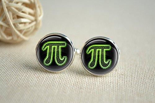 Pi Manschettenknöpfe, Mathematische Symbole Hochzeit Manschette Link, Glas Manschettenknöpfe, Geschenk für ihn Bild Jewelry