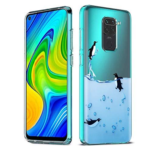 ZhuoFan Funda para Xiaomi Redmi Note 9 4G, Cárcasa Silicona Transparente con Dibujos Diseño Suave TPU Antigolpes de Protector Piel Case Fundas para Redmi Note 9 4G / Redmi 10X 4G, Pingüinos