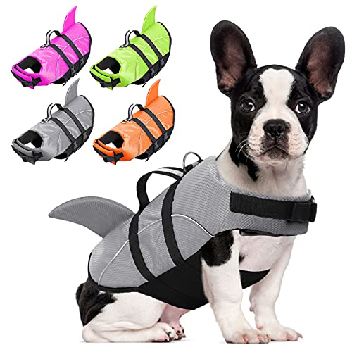 AOFITEE Dog Life Jackets Ripstop Pet Life Vest, Reflective Dog Float Coat, Safety Lifesaver Life Preserver with Shark Fin & Rescue Handle for Small Medium Large Dogs (Grey S)