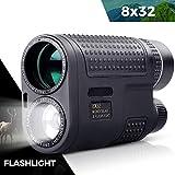 Monocular de 8 x 32 + linterna 2 en 1 diseño – BAK4 FMC película verde monoculares de visión nocturna para conciertos de caza de aves
