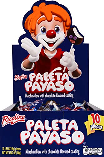 RICOLINO Paleta Payaso Coated Marshmallow Lollipop with Gummies Party Pack Of 10 Lollipops, 1.6 Oz Each 10, chocolate, 120 Count, (Pack of 12)