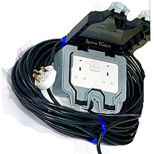 Cable de extensión para jardín al aire libre IP66, 1 m, LED negro