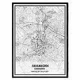 Heilbronn Deutschland Karte Wandkunst Leinwand drucken