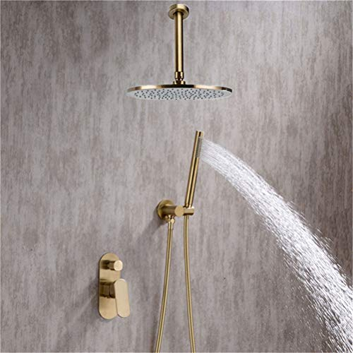 Grifo de ducha Empotrado Dorado Latón macizo Cabezal de ducha Rianfall Grifo de ducha Mezclador de brazo de ducha montado en el techo Sistema de ducha Con Cabezal de ducha y Manguera de ducha,10inch