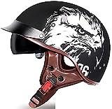 Helmets Classic Vintage Moto Medio Casco,Casco Moto Jet Abierto Retro,DOT Homologado Casco Moto Abierto Crucero Scooter Off-Road Casco Exterior Equitación Protectora Cascohelmet 6,L