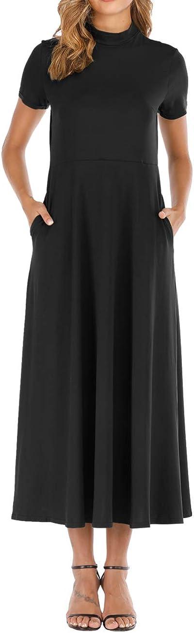 Haola Women's Short Sleeve Loose Plain Maxi Dresses Casual Turtleneck Long Dress with Pockets