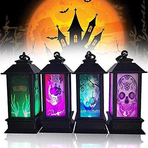 DZSF Halloween Decoratie Props Led Kaarsen Licht Vintage Kasteel Bats Pompoen Lantaarn Vlam Lamp Enge Halloween Party benodigdheden 4 Stks