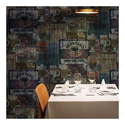 HOUSEHOLD Retro-Nostalgie-Tapete Kaffee Englisch Alphabet Tapete Restaurant Restaurant Bar Cafe Tapete Shop-Dekoration Herausnehmbare Tapete (Color : A)