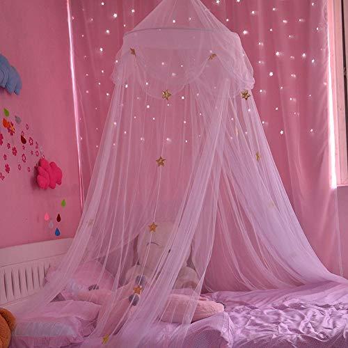 happygirr Prinzessin Moskitonetz Runde Betthimmel Baldachin Moskitonetz für Kinder mit DIY leuchtenden Sternen Insektenschutz Netz für Doppelbetten Baby Kid Kinder daheim