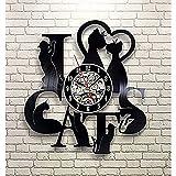 zZZ Reloj de Pared Encanta Cat Record Vintage LED Vinilo 3 Color Luz Reloj De Pared/Reloj