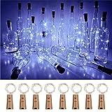 Luz de Botella, 8 Pack Luz Corchos, Luces Led para Botellas de Vino 2m 20 LED a Pilas Decorativas Cobre Luz para Romántico Boda, Navidad, Fiesta, Hogar, Exterior, Jardín, Blanco frío