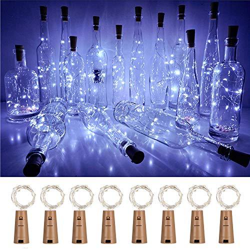 Lichterkette in Weinflaschen mit Kork, 8 Stück, batteriebetrieben, 20 LEDs, Korkform, silberfarbener Kupferdraht, für Party, Weihnachten, Halloween, Hochzeit cool white