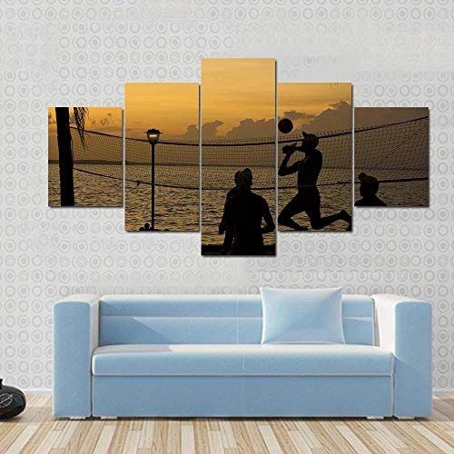 Modern canvas paintings with people enjoying volleyball