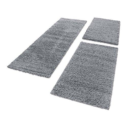 Unbekannt Shaggy Hochflor Teppich Carpet 3TLG Bettumrandung Läufer Set Schlafzimmer Flur, Farbe:Hellgrau, Bettset:2x60x110+1x80x150