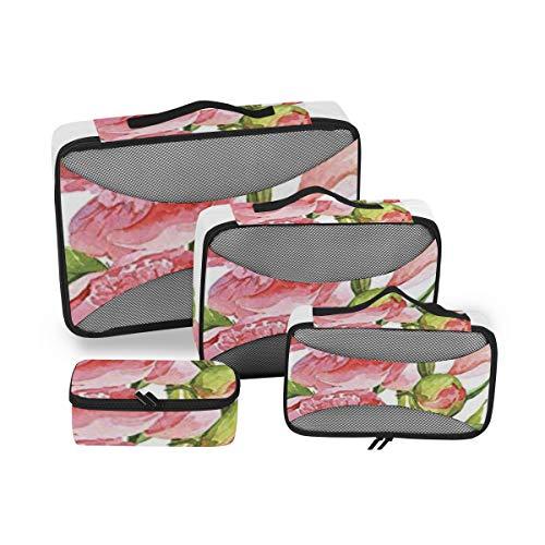 Aquarelle 4pcs Trousse de Toilette pour Femme Grand Sac cosmétique avec poignée Organisateur de Toilette pour Homme et Femme
