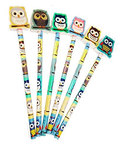 12 x Bleistifte mit Radiergummi Eule | Überraschungsgeschenk | Geburtstag ┃ Partygeschenke | Weihnachtsstrümpfe | Spielpreis | Auszeichnungen der Klasse