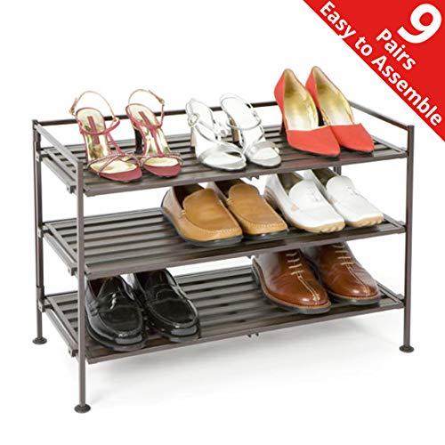 Seville Classics 3-Tier Stackable 9-Pair Woodgrain Resin Slat Shelf Sturdy Metal Frame Shoe Storage Rack Organizer, Perfect for Bedroom, Closet, Entryway, Dorm Room, Espresso