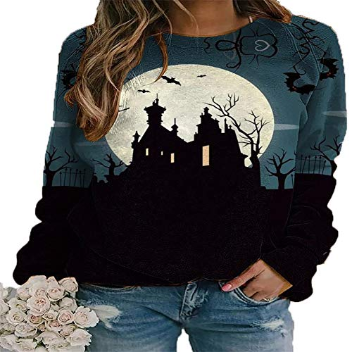 Halloween Ladies Round Neck Long Sleeve Funny Print Wizard Castle Ghost Loose Sweater