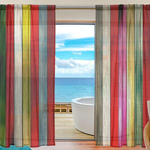 TIZORAX Vintage Bunte rustikale Holzvorhänge aus Polyleinen Voile Vorhang für Wohnzimmer Schlafzimmer 139,7 cm B x 198 cm L, 2 Paneele, Polyester, multi, 55