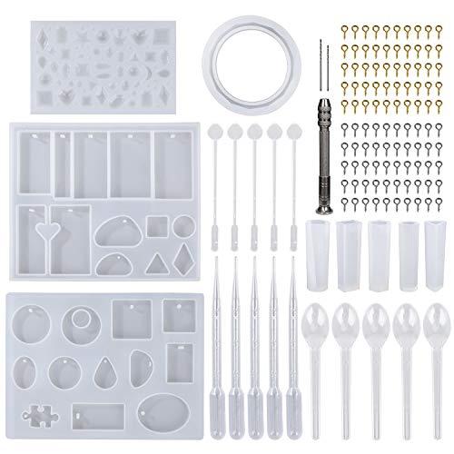 Moldes de Resina Silicona Epoxi Molde Resina Crafting Kit para Hacer Joyerias Collar Pendiente Fabricación de Colgante 127 Piezas