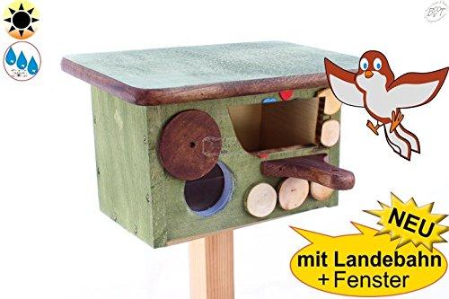 ÖLBAUM Wintervögel-Schutzhütte + Nisthöhle Nisthaus, Nistkasten für Vögel im Bayern Deko Design, Halbhöhle mit Öffnung ca. 50 x 80 mm, Haus MOOSGRÜN, Anflug braun, Dach grünbraun