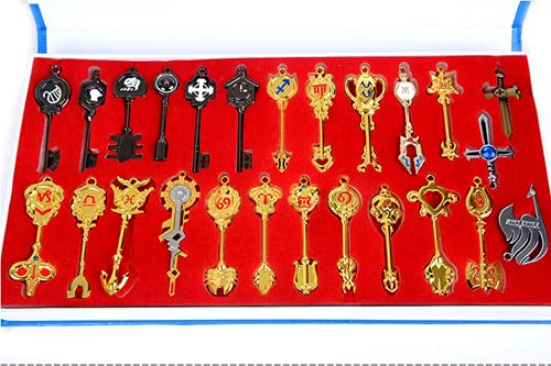 LINLUO Cosplay Anime Lucy Heartfilia 25 Pièces en Métal Porte-clés Collier Pendentif Boîte-Cadeau Collection D'artisanat