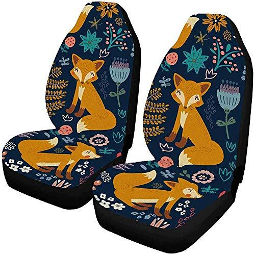 Sicherheitsabdeckungen Set mit 2 Fox Vogel Tierflower vorne Auto, in Universalform für Fahrzeuge, Limousine 14-17 Zoll