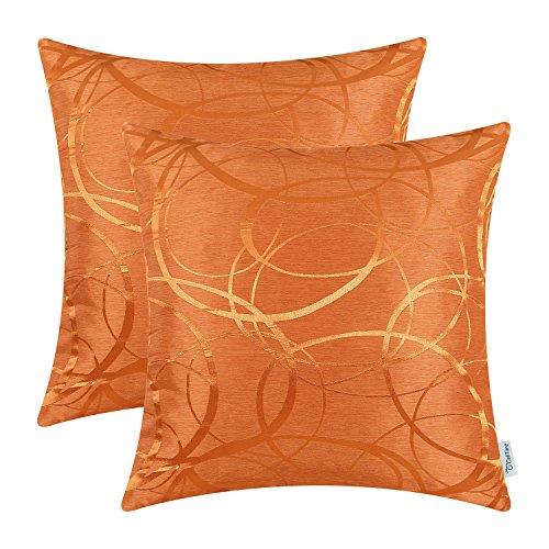 CaliTime Kissenbezüge Kissenhülle Packung mit 2 Dekokissen Cases Schalen für Couch Sofa Home Decor Modern Shining & Dull Contrast Circles Ringe Geometrisch 45cm x 45cm Leuchtend Orange