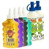 Nice Group - Slime Glue Metal, Kit de 4 Colas Surtidos y 2 activadores.