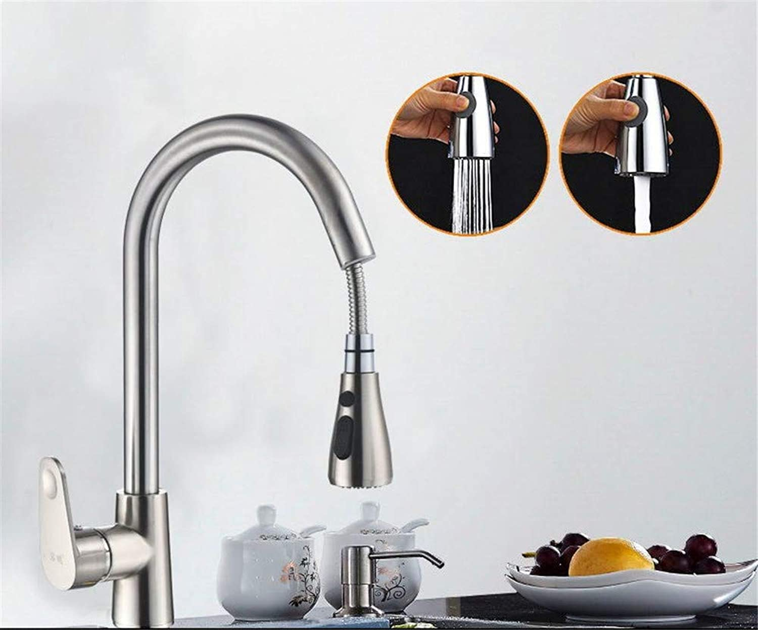 Kitchen Pull-Type Faucet hot and Cold Household 304 Stainless Steel Sink Pool Sink Full Copper Retractable redation,F