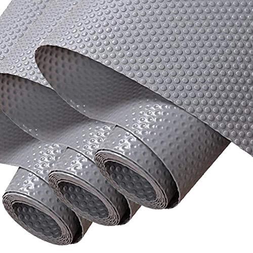 Hersvin 30cmx150cmx3 Rollos Plastico Protector para Cocina Cajones, Alfombras Non Adhesivo para Nevera Mueble Fregadero Estante Organizador Cubiertos Cubre Encimera(Gris Oscuro/Punto)
