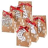 Sac Cadeau Papier, Boîtes de Papier de Noël, Sacs Cadeaux de Noël en Papier Kraft, Sacs Cadeaux avec 24 d'Étiquettes de Noël Blanches et Ruban, Pochettes Cadeaux Kraft pour Bonbons Biscuits Jouet