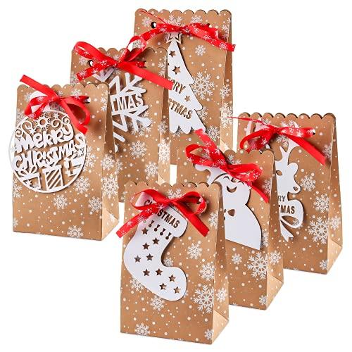 Bolsas de Regalo Navidad, Bolsa de Regalo, Bolsas para Chuches, 24pcs Bolsas de Papel Kraft Navideñas, Bolsas de Papel Kraft, Cajas de Regalo Navidad con 24 Etiqueta de Navidad + Cinta