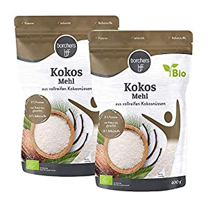borchers Harina de coco orgánica premium, para cocinar y hornear, alta en fibra, 2 x 400 g