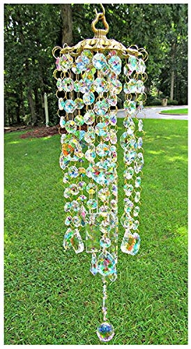 None Brand Indoor and Outdoor Colored Crystal Wind Chimes, Hand-Made Decorative Wind Chimes, Perfect complement to The Sunny Windows of Your Garden Terrace Lawn, Gifts for Relatives and Friends