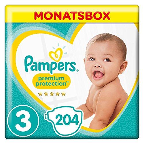 Pampers Premium Protection Windeln, Größe 3 Midi (6-10 kg) MonatsBox, 1er Pack (1 x 204 Stück)