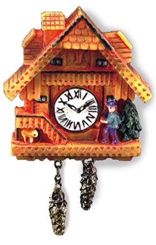 Miniatur Kuckucksuhr von Reutter Porzellan, honigfarbig. Für 1:12 Puppenstuben.