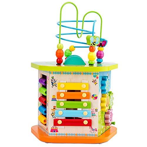 Juego de cerebro Multifuncional Aprendizaje temprano Actividad Cubo Juguete grande Actividad de madera Cubo Bead Maze Laberinto de juguetes educativos para niños (Color: Multicolor, Tamaño: Tamaño lib