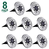 Aogist Solar Ground Lights,8 LED Garden Lights Waterproof Patio Outdoor Light with Light Sensor for Lawn,Pathway,Yard,Driveway,Step and Walkway (8 Pack White)