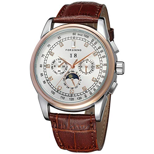 Forsining Men's Automatic Self Winding Moon Phase...