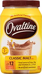 Ovaltine Classic Malt Beverage 12oz Fat free and cholesterol free, classic Ovaltine Fortified with 12 vitamins and minerals Classic malt mix Pack of 6, 12-ounce canisters (total of 72 ounces) Ovaltine Classic Malt Beverage 12oz