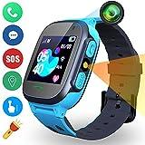 Niños Inteligente Relojes Telefono Estudiante, Relojes Smart Lata Realiza LBS Tracker Posicionamiento SOS Ranura para Tarjeta de Juego Juego de Reloj Inteligente, Regalo Infantil de 3 a 12 Años, Azul