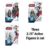 Comictoyz Set of 3 Star Wars Action Figures Luke Skywalker Jedi Exile Rey Island Journey and Rey Jedi Training