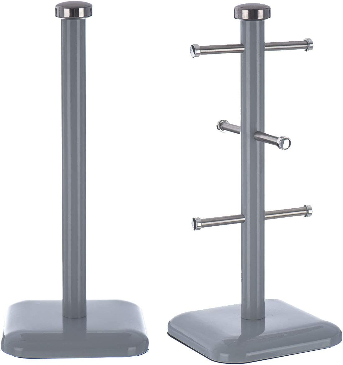LIVIVO Taurus Stainless Steel 6 Cup Mug Tree Stand /& Kitchen Towel Paper Roll Pole Holder Coffee Tea Mugs Cups Drying Storage Rack Grey