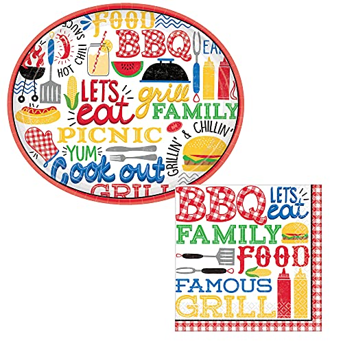 BBQ Picnic Party Supply Pack for 18 People   Bundle Includes Oval Banquet -Style Paper Plates & Napkins   Summer Theme