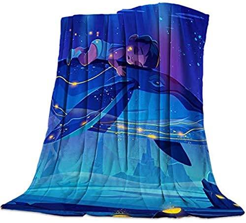 Mantas suaves para niños en el océano Animal ballena franela manta mullida para exteriores, viajes, sofá, cama, sofá, coche, ES azul, 40 x 50 pulgadas