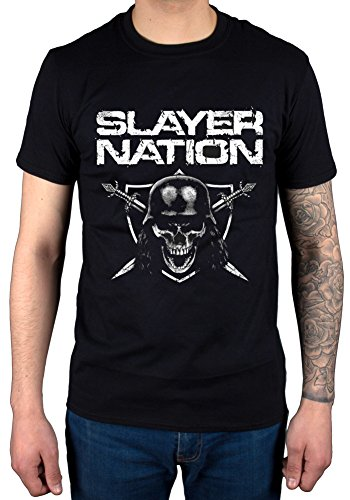 Official Slayer Nation Skull Shield T-Shirt Band Metallica Exodus USA