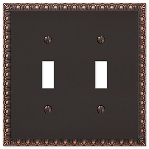 Amerelle Egg & Dart Double Toggle Cast Metal Wallplate in Aged Bronze