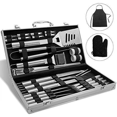 Monbix BBQ Grill Set Stainless Steel, Professional Barbecue Grill Tool Set, BBQ Accessories Barbecue Grill Set - 33 Pieces with Case