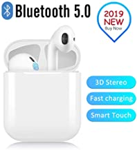 Wireless Earbuds, 2019 Latest Intelligent Noise Reduction Headset, (Support Fast Charging),Pop-ups Auto Pairing /iPhone/Apple/Android/Samsung/Airpods and Airpod Wireless Bluetooth Headphones